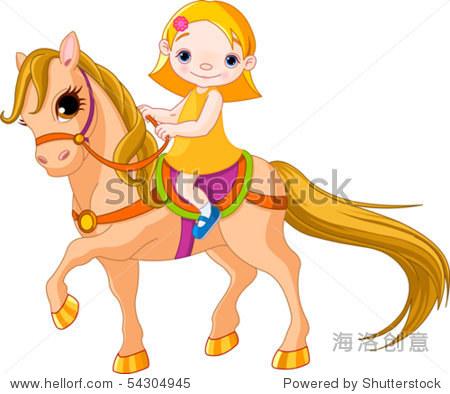 可爱的小女孩骑着一匹马