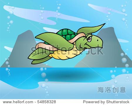 插图的海龟在海里游泳的背景-动物/野生生物,插图/图