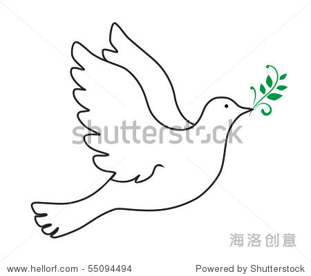 鸽子橄榄枝简笔画 橄榄枝 鸽子简笔画 和平鸽和橄榄枝简笔画 大狼网