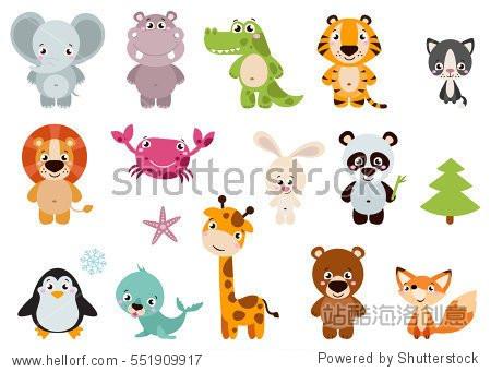 矢量集合有趣的动物.可爱的动物:森林