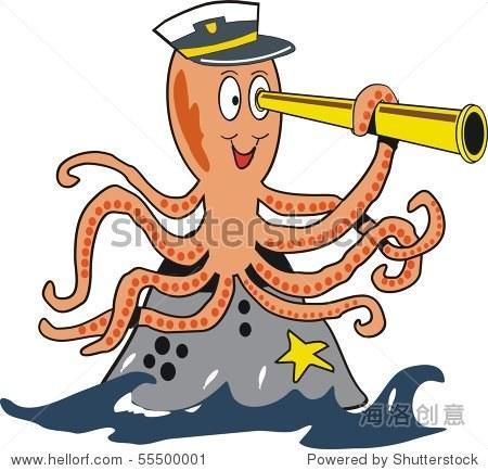 微笑的卡通章鱼用望远镜在海洋岩石. - 动物/野生生物