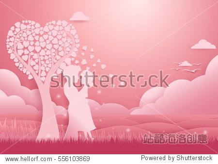 Valentines day background. Couple standing under tree of love at sea concept romantic love. paper cut, art, origami style