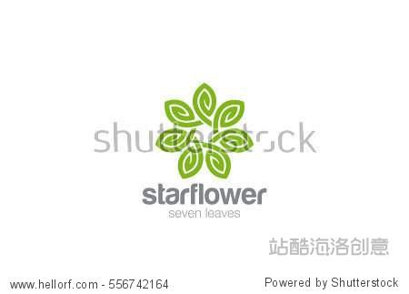 green leaves star flower logo design infinity loop vector图片