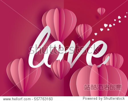 love.Valentine's day. Invitation card pink balloons heart on abstract background with text love.Vector illustration.paper craft style.