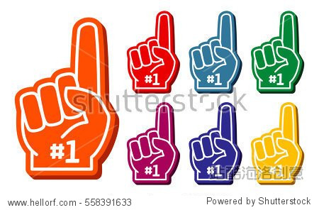 colorful foam fingers vector set. elements for