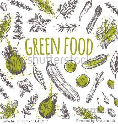 green food. vegetarian card with natural organic图片