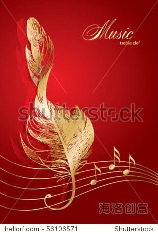 金色的高音谱号的红色背景上的鸟的羽毛 插图 剪贴图,符号 标志 站