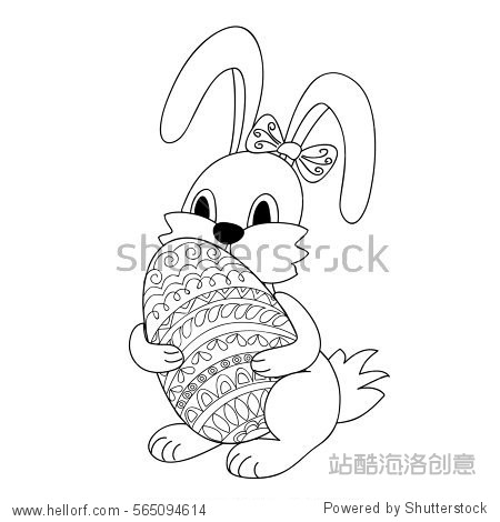 Hand drawn cartoon little rabbit keeping ornamental egg for Easter greeting card, invitation, decorate kids room, dishes cup wal