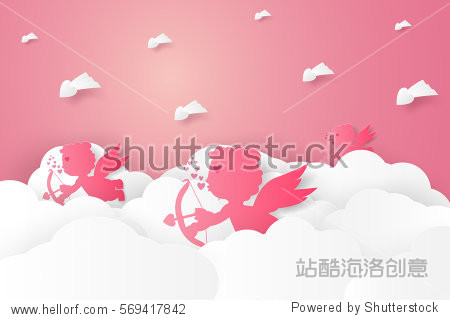 Valentines day , Illustration of love , Cupid on sky , paper art style