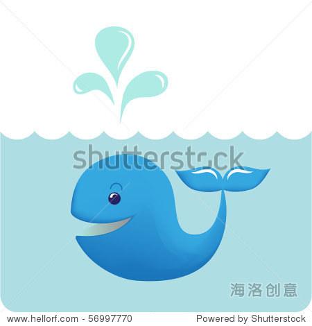 可爱的宝宝鲸鱼喷水.
