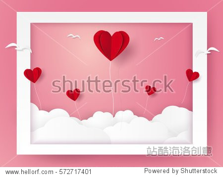 Valentines day, Illustration of love , Heart balloons and birds flying out of frame, paper art style