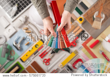 work tools on background top view, diy and home renovation
