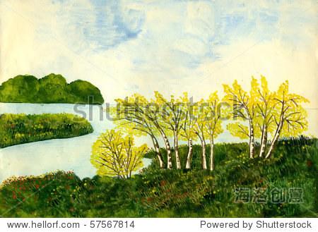 秋天的风景,水粉颜料在纸上