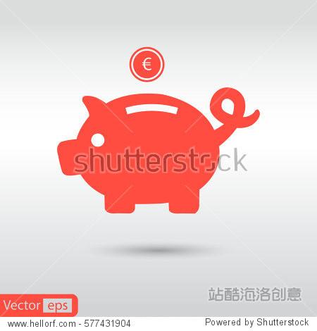 piggy bank - saving money. red icon