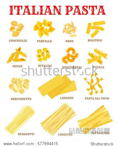 italian pasta list of different shapes with names