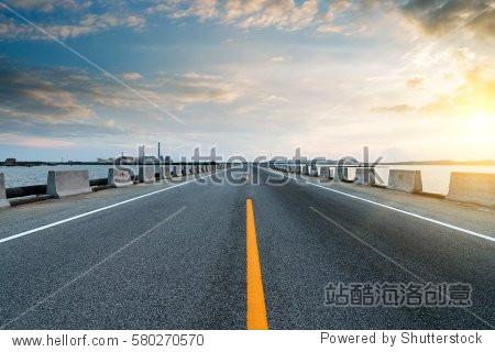 At dusk highway, modern transportation fantasy landscape