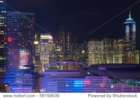 Hong Kong Convention Center at dusk.