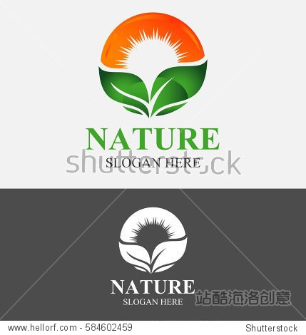 nature sun logo with green leaf vector design template.图片