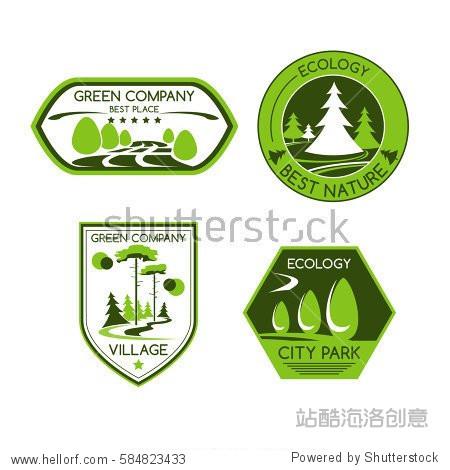 green company vector icons set of urban outdoor图片