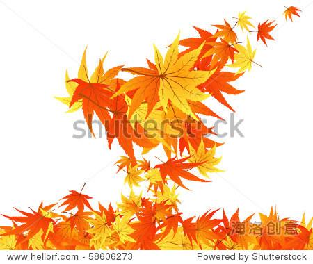 秋天的枫树叶子扭曲行.矢量插图.