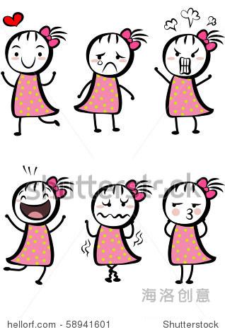 一个可爱的女孩有不同的表情 - 人物,插图/剪贴图