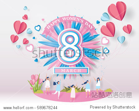 and young woman joyful on abstract pink background.