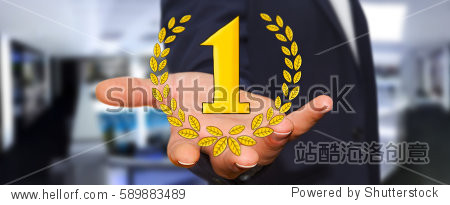 Businessman holding hand drawn winner trophy icons in his hand
