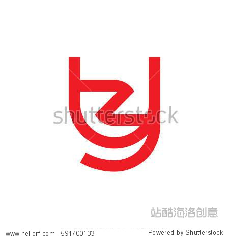 initial letter logo yz zy z inside y rounded lowercase red flat
