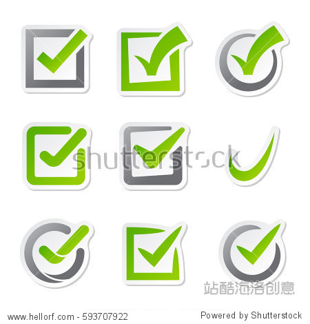 icons of vote mark web sign choice yes symbol and correct design图片