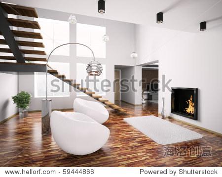 现代室内壁炉和楼梯3 d渲染
