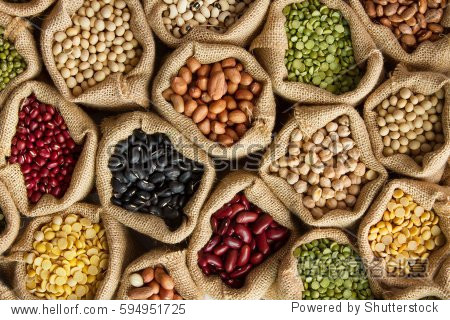 Legumes bean seed in sack, top view
