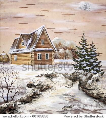 白桦树皮画犬瘟热:木头的小屋里