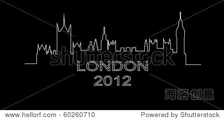 伦敦的轮廓在一个黑色背景