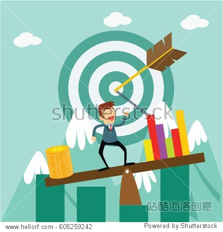 success business see saw balance financial cartoon character