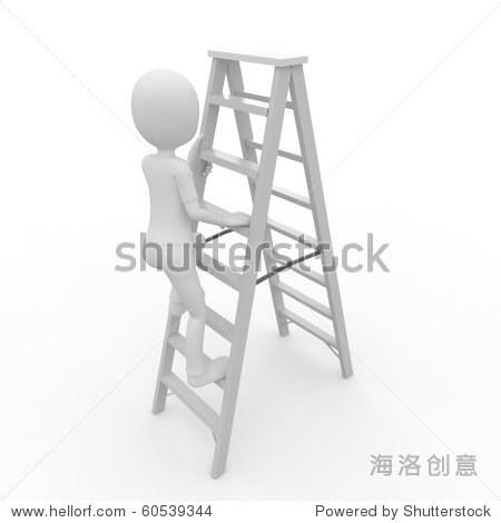 3 d人工人爬梯子孤立在白色的