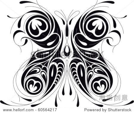 病媒昆虫孔雀蝴蝶插图.纹身黑白风格