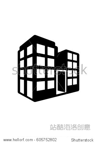 office block building icon, vector - 建筑物/地标