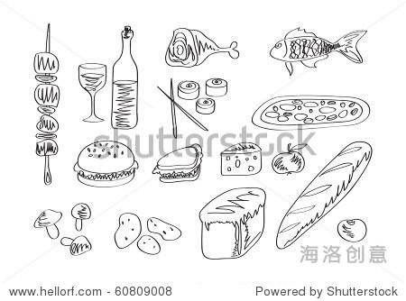 向量食物图标集.手绘