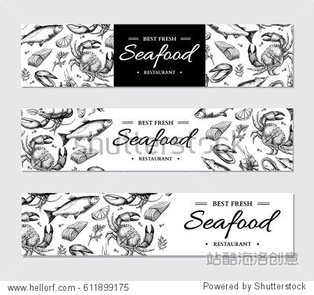 engraved style fish and sea food restaurant menu card business