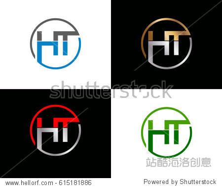 ht letter vector logo design图片