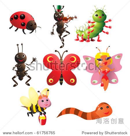 矢量图,可爱的小虫子,卡通的概念,白色背景