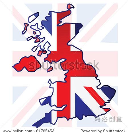 说明英国国旗的英国地图图片
