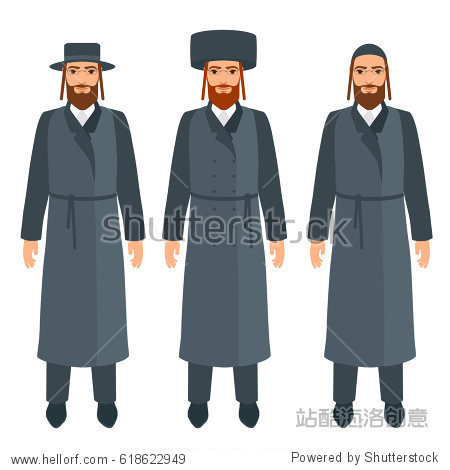 jewish men set in traditional religious clothes and headdresses.