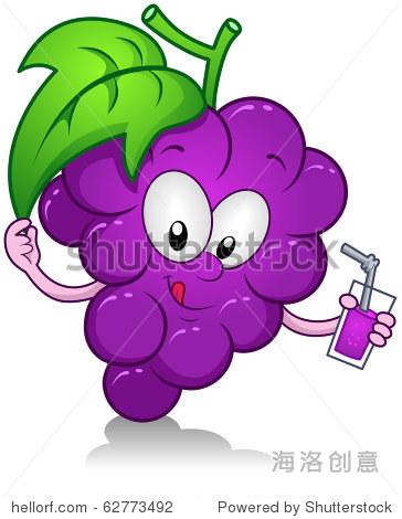 插图的葡萄人物拿着饮料图片