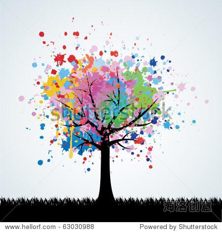 抽象的彩色的树.向量的背景. - 背景/素材,插图/剪贴