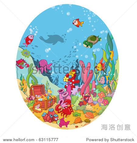 矢量插图,形象的海洋野生动物,卡通的概念.