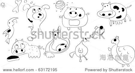 涂鸦有趣的动物组