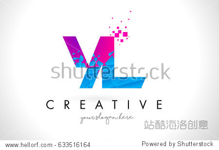 yl y l letter logo with broken shattered blue pink triangles图片