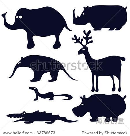卡通动物剪影黑色