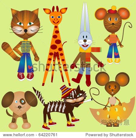 一组有趣的动物